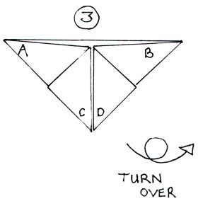 An illustration showing corners C and D folded down.