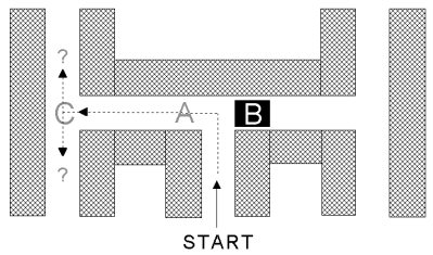 An illustration of the maze with part B blocked.
