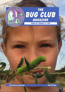 August 2016 Bug Club Magazine cover showing Melissa-May with an Eyed Hawk-moth _Smerinthus ocellata_ caterpillar