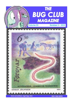 October 2015 Bug Club Magazine cover showing Earthworms (_Lumbricus terrestris_) and their vital link with agriculture celebrated in a stamp from the Faroe Islands.