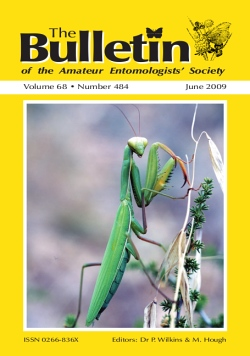 June 2009 Bulletin cover showing a picture of a mantid on the Greek island of Corfu