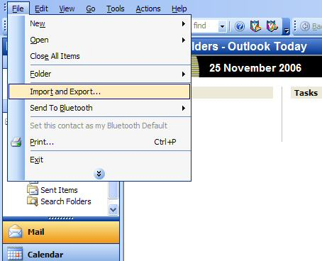 A screenshot showing how to select the Import and Export function in Microsoft Outlook