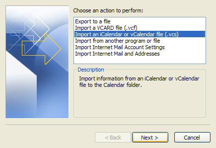 A screenshot from Microsoft Outlook showing how to import a iCalendar or vCalendar file