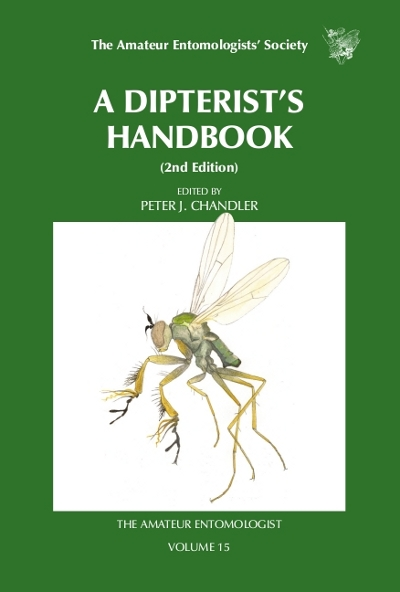 The cover of the second edition of The Dipterist's Handbook showing the Dolichopodid fly _Campsicnemus magius_