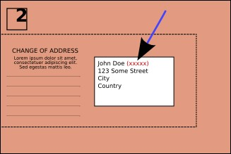 An illustration of AES mailing envelopes showing the location of your membership number (indicated by an arrow)