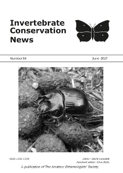 June 2017 Invertebrate Conservation News cover showing the Minotaur Beetle _Typhaeus typhoeus_