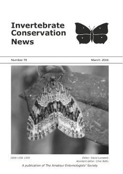March 2016 Invertebrate Conservation News cover showing the Barred Tooth-striped _Trichopteryx polycommata_.