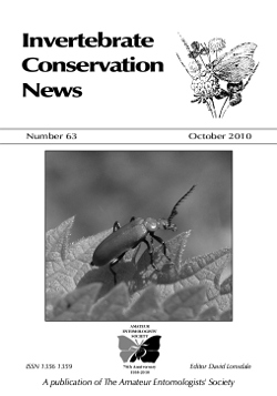 October 2010 Invertebrate Conservation News cover showing a Red-headed Cardinal Beetle, _Pyrochroa serraticornis_