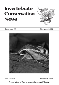 October 2012 Invertebrate Conservation News cover showing Striped Hawk-moth _Hyles livornica_.