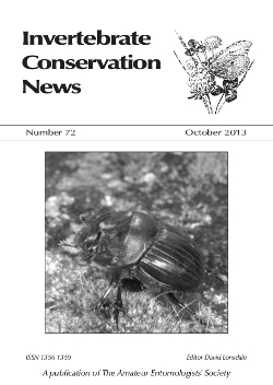 October 2013 Invertebrate Conservation News cover showing a male dung beetle _Copris lunaris_.