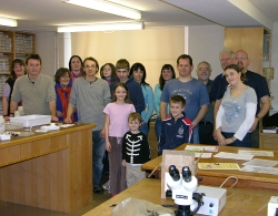 A photograph of AES and Bug Club members at the University of Oxford Museum of Natural History
