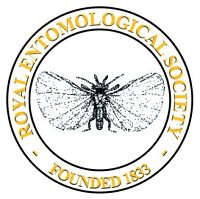 Logo of the Royal Entomological Society showing the strepsipteran at the centre