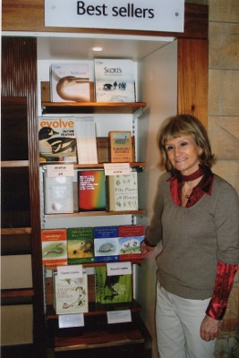 Author Sonia Copeland-Bloom pictured with the books by the best sellers shelves at the Natural History Museum